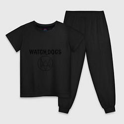 Пижама хлопковая детская Watch Dogs цвета черный — фото 1