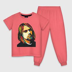 Пижама хлопковая детская Курт Кобейн: фан-арт цвета коралловый — фото 1