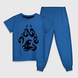 Пижама хлопковая детская Волчий след цвета синий — фото 1