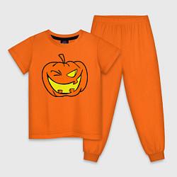 Пижама хлопковая детская Подмигивающая тыква цвета оранжевый — фото 1