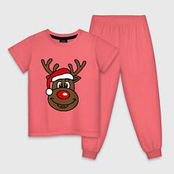 Пижама хлопковая детская Рождественский олень цвета коралловый — фото 1