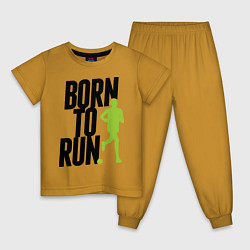 Пижама хлопковая детская Рожден для бега цвета горчичный — фото 1