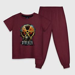 Пижама хлопковая детская STALKER: Soldier цвета меланж-бордовый — фото 1