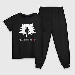 Пижама хлопковая детская Killing monsters цвета черный — фото 1