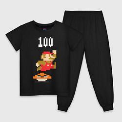 Пижама хлопковая детская Mario: 100 coins цвета черный — фото 1