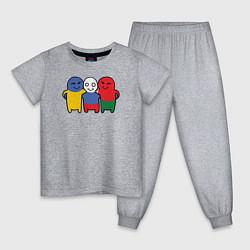 Пижама хлопковая детская Россия, Украина, Беларусь цвета меланж — фото 1