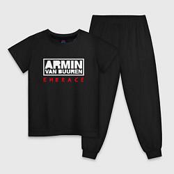 Пижама хлопковая детская Armin van Buuren: Embrace цвета черный — фото 1