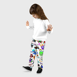 Брюки детские AMONG US STICKERBOMBING цвета 3D-принт — фото 2