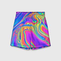 Шорты детские Цветные разводы цвета 3D — фото 1