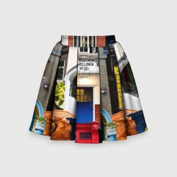 Юбка-солнце для девочки London doors цифровой коллаж цвета 3D — фото 1