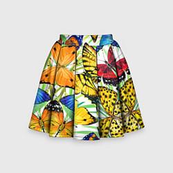 Юбка-солнце для девочки Тропические бабочки цвета 3D — фото 1