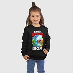 Свитшот хлопковый детский BRAWL STARS LEON цвета черный — фото 2