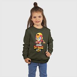 Свитшот хлопковый детский BRAWL STARS MAX цвета хаки — фото 2