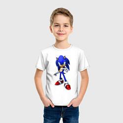 Футболка хлопковая детская ЁЖ Соник цвета белый — фото 2