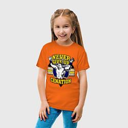 Футболка хлопковая детская Never Give Up: Cenation цвета оранжевый — фото 2
