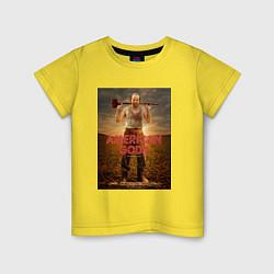 Футболка хлопковая детская American Gods: Czernobog цвета желтый — фото 1