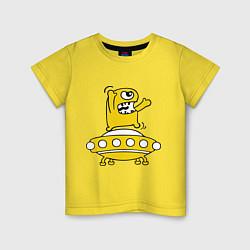 Футболка хлопковая детская Пришелец Саня цвета желтый — фото 1
