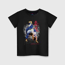 Футболка хлопковая детская Дзюдо: национальная команда цвета черный — фото 1