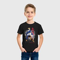 Футболка хлопковая детская Дзюдо: национальная команда цвета черный — фото 2