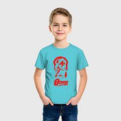 Футболка хлопковая детская Дэвид Боуи цвета бирюзовый — фото 2