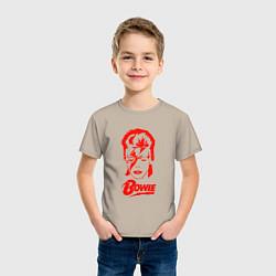Футболка хлопковая детская Дэвид Боуи цвета миндальный — фото 2
