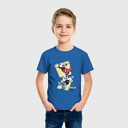 Футболка хлопковая детская Cuphead Friends цвета синий — фото 2