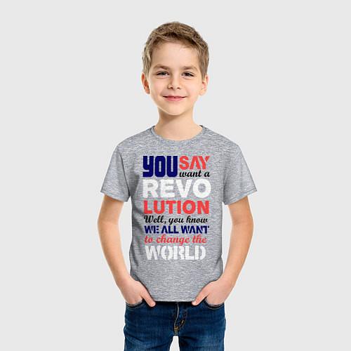 Детская футболка The Beatles Revolution / Меланж – фото 3