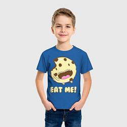 Футболка хлопковая детская Cake: Eat me! цвета синий — фото 2