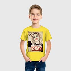 Футболка хлопковая детская Obey girl цвета желтый — фото 2