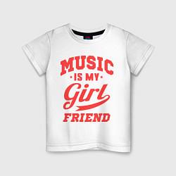Футболка хлопковая детская Music is my girlfriend цвета белый — фото 1