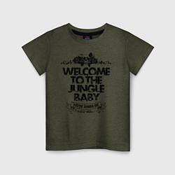 Футболка хлопковая детская Welcome to the Jungle цвета меланж-хаки — фото 1