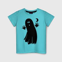 Детская хлопковая футболка с принтом Приведение, цвет: бирюзовый, артикул: 10017239300014 — фото 1