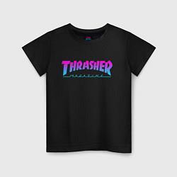 Футболка хлопковая детская Thrasher Magazine: Neon Light цвета черный — фото 1