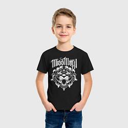 Футболка хлопковая детская Miss May I: Angry Lion цвета черный — фото 2