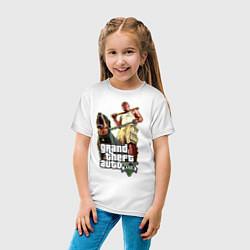 Футболка хлопковая детская GTA 5: Man & Dog цвета белый — фото 2
