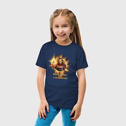 Футболка хлопковая детская Capt Marvel: Become a Legend цвета тёмно-синий — фото 2