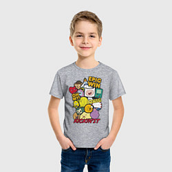 Футболка хлопковая детская Heroes Adventure Time цвета меланж — фото 2