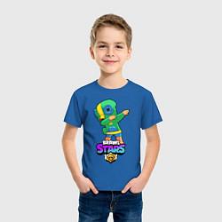 Футболка хлопковая детская Brawl Stars Leon, Dab цвета синий — фото 2