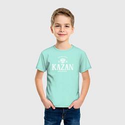 Футболка хлопковая детская Казань Born in Tatarstan цвета мятный — фото 2