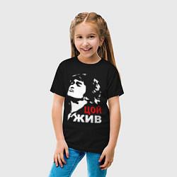 Футболка хлопковая детская Виктор Цой цвета черный — фото 2