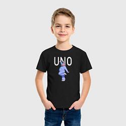 Футболка хлопковая детская Little Big: UNO цвета черный — фото 2