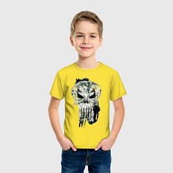 Футболка хлопковая детская Каратель Череп цвета желтый — фото 2