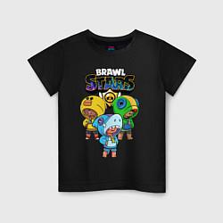 Футболка хлопковая детская Brawl Stars Leon Trio цвета черный — фото 1