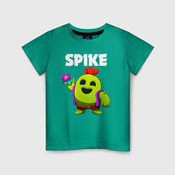 Футболка хлопковая детская BRAWL STARS SPIKE цвета зеленый — фото 1