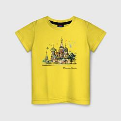 Футболка хлопковая детская Москва, Россия цвета желтый — фото 1
