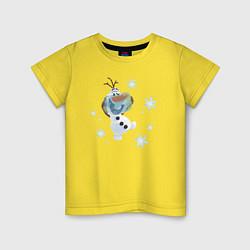 Футболка хлопковая детская Веселый Олаф цвета желтый — фото 1