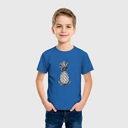 Футболка хлопковая детская Ананас Моргенштерна цвета синий — фото 2