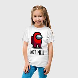 Футболка хлопковая детская Among Us, Not Me! цвета белый — фото 2