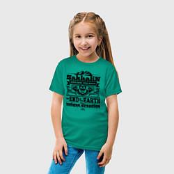Футболка хлопковая детская Сахалин - остров мечты цвета зеленый — фото 2