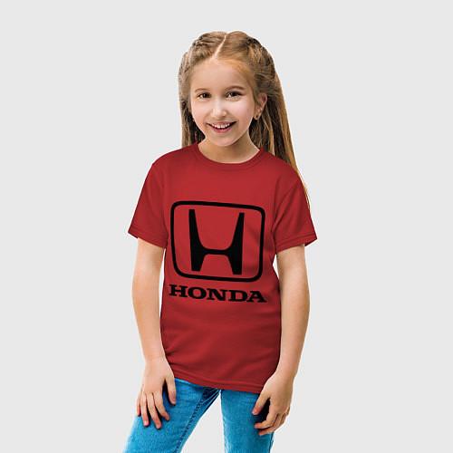 Детская футболка Honda logo / Красный – фото 4